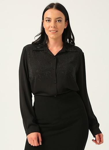 Ekol Ekol Uzun Kollu Taşlı Gömlek Yakalı Kadın Bluz Siyah